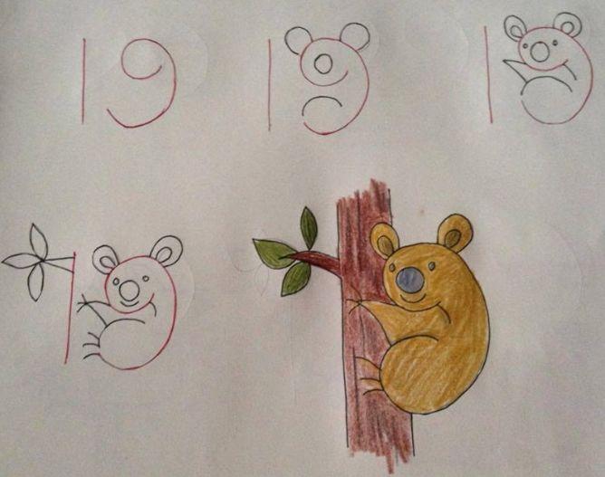 dibujo, de 19 a koala subido al árbol
