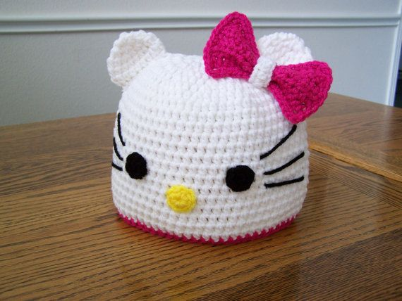 Adorable Crocheted Hello Kitty Hat!