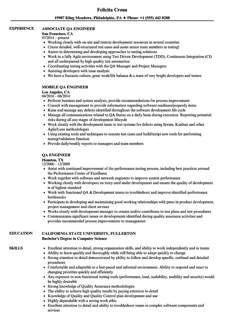 Qa Engineer Resume in 2020 Resume words, Resume software