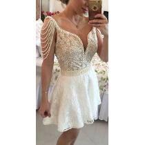Vestido Perolas Tule E Renda - Formatura Noiva Debutante