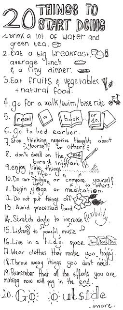 20 tips for a healthy life. love this ❥ via lifeiscrafted
