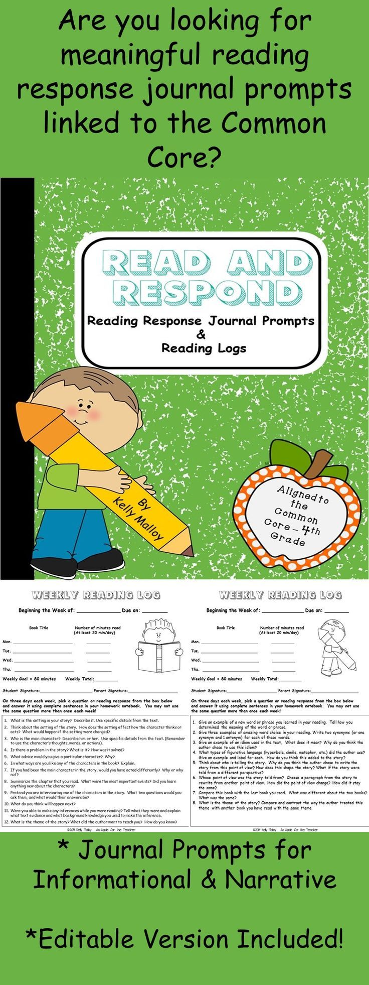 Reading Response Journal Prompts aligned to 4th grade common core