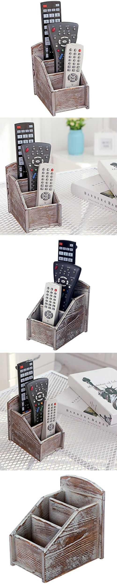 MyGift Rustic Wood Remote Control Caddy, 3 Slot Office Supply Storage Rack, Brown