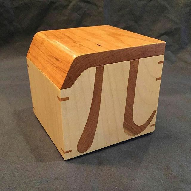 From @sawtoothdesignsofaustin ・・・ Stuff I made for Christmas Volume 1: the cherry pi box. Solid maple with cherry inlay and lid. #boxmaking #pi #cherry #handmade #woodworking #woodwork #woodworker #woodartist #maple #austin #texas #symbol #woodreview
