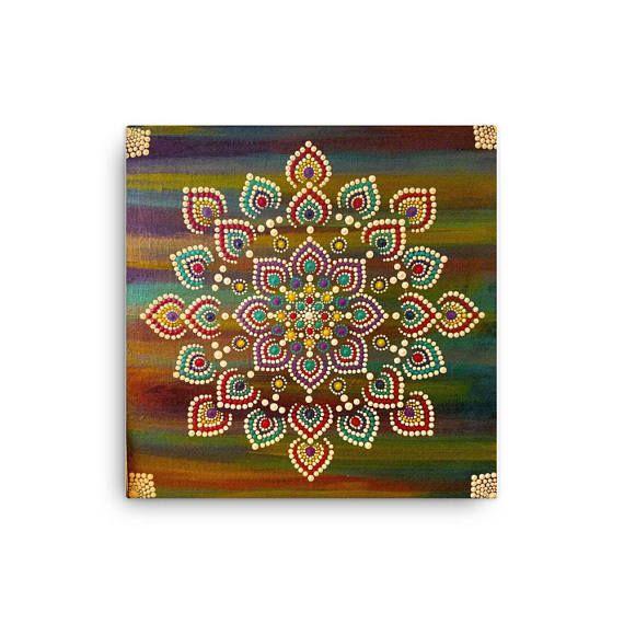 12x12 Canvas Print mandalamandala wall art dot mandala dot