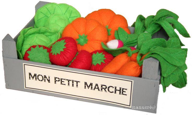 Une cagette de primeur ... plus vraie que nature: tuto de légumes en feutrine