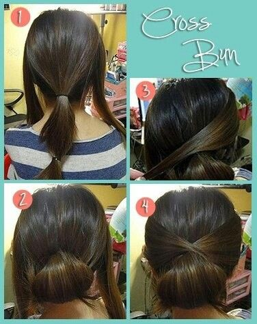 Cross bun. Should have learned this when my hair was actually long enough.