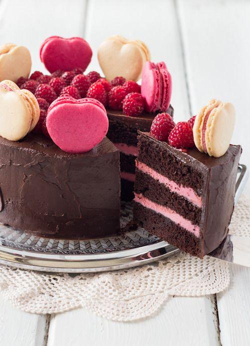 foodopia:  chocolate raspberry layer cake with macarons: recipe...
