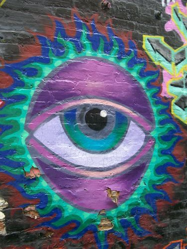 Eye catching mural in the alley next to Medici, Hyde Park, Chicago, IL, USA