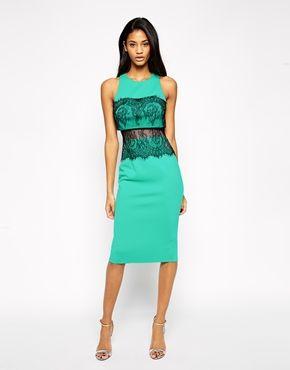 ASOS Crop Top Lace Scuba Dress