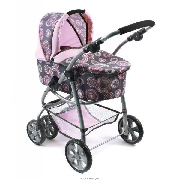 Wózek Bellina 2 w 1 dla lalki Rosy Pearls Bayer Chic oraz lalek bobasów hiszpańskiej firmy Berenguer. Wózek dwufunkcyjny: wózek głęboki i spacerówka