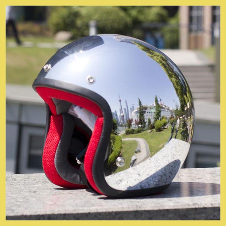 Mirror Silver Chrome Vespa Open Face Motorcycle Motorbike Helmet Harley Retro Moto Helmets Casque Casco Capacete Motoqueiro DOT