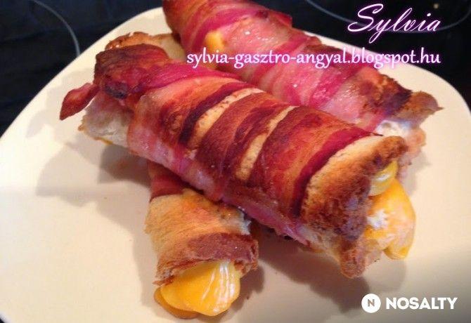 Melegszendvicstekercs bacon köntösben