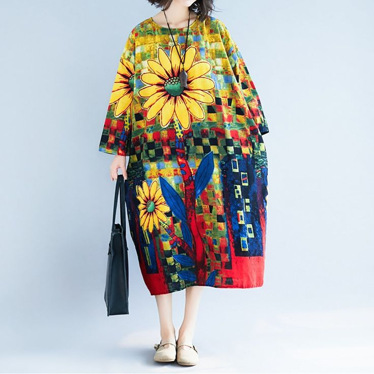 Plus Size Sunflower Dresscasual Round Neck Printed Colour Loose
