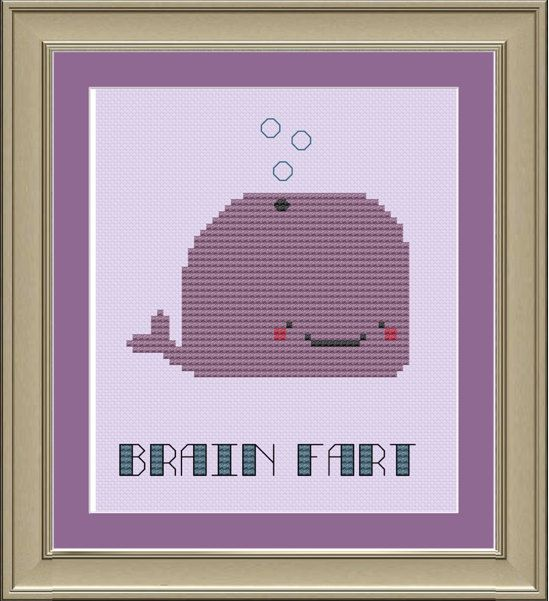 Brain fart: cute whale cross-stitch pattern. $3.00, via Etsy.