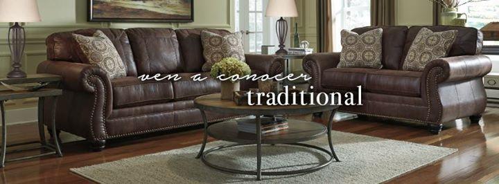Este estilo nos deleita con sus terminaciones elegantes y sus formas clásicas. <3  #AshleyFurnitureHomeStore #estilo #muebles #otoño #Traditional #Sofas