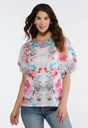 03111a7a1d9ab5 Plus Size Romantic Floral Top Tees & Amp ; Knit Tops Cato Fashions ...