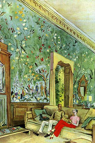 Beaton's sketch of William Harrison and Mona Bush, Vogue, 1937.