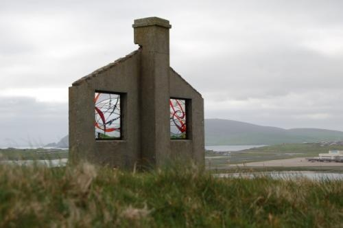 Fiona Foley stained glass artist, site in Shetland Isles