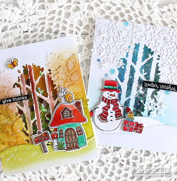 Two seasons, one wafer die! Yoonsun is stretching her dies with these adorable shaker cards! Check it out over at the Simon Says Stamp blog.