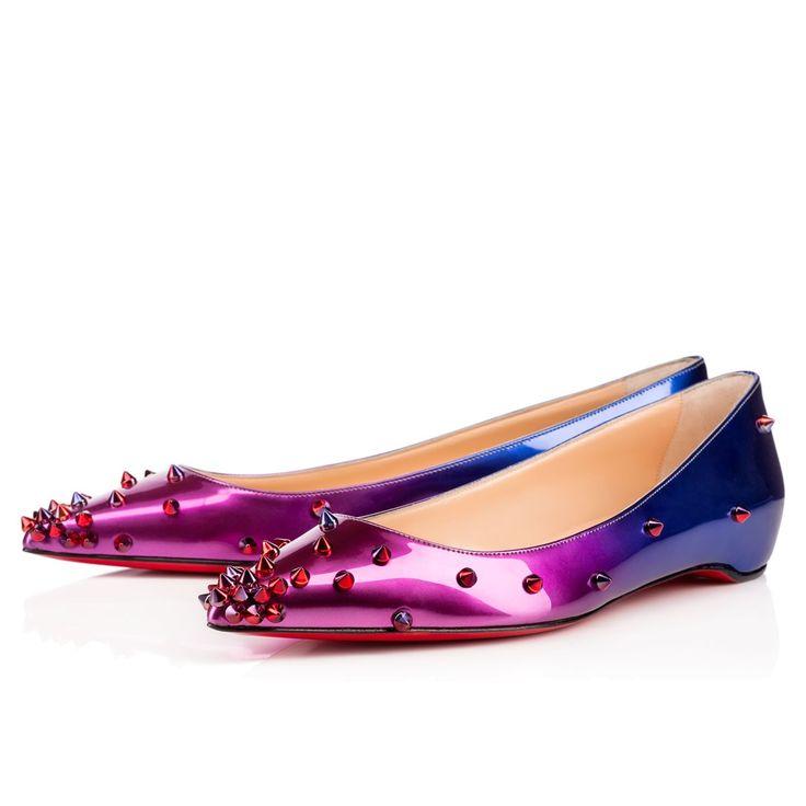Degraspike Flat Drage/Silver Glitter - Women Shoes - Christian Louboutin. Red  Bottom ...