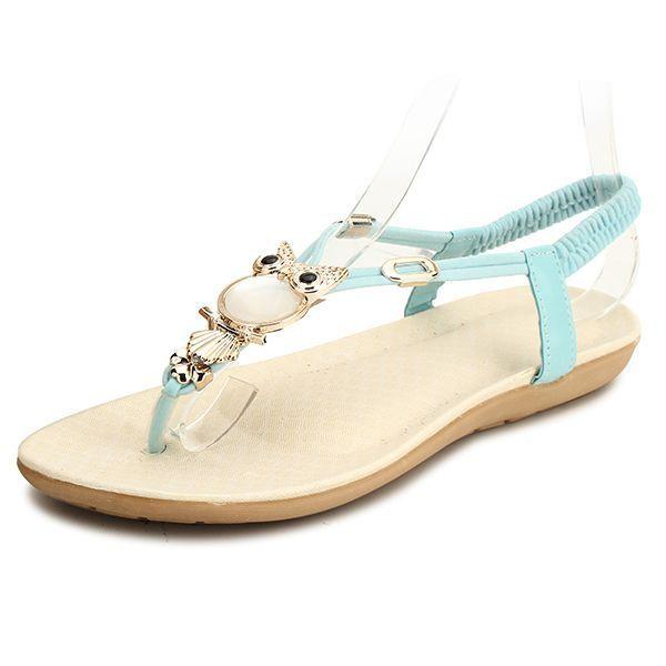 72ce54844d6a88 Big size women bohemia flat sandals owl clip toe elastic sandals dapperq  sandals  sandals