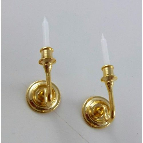 Dolls House Victorian Lighting Accessory Mini Mundus Brass Candle Wall Sconces