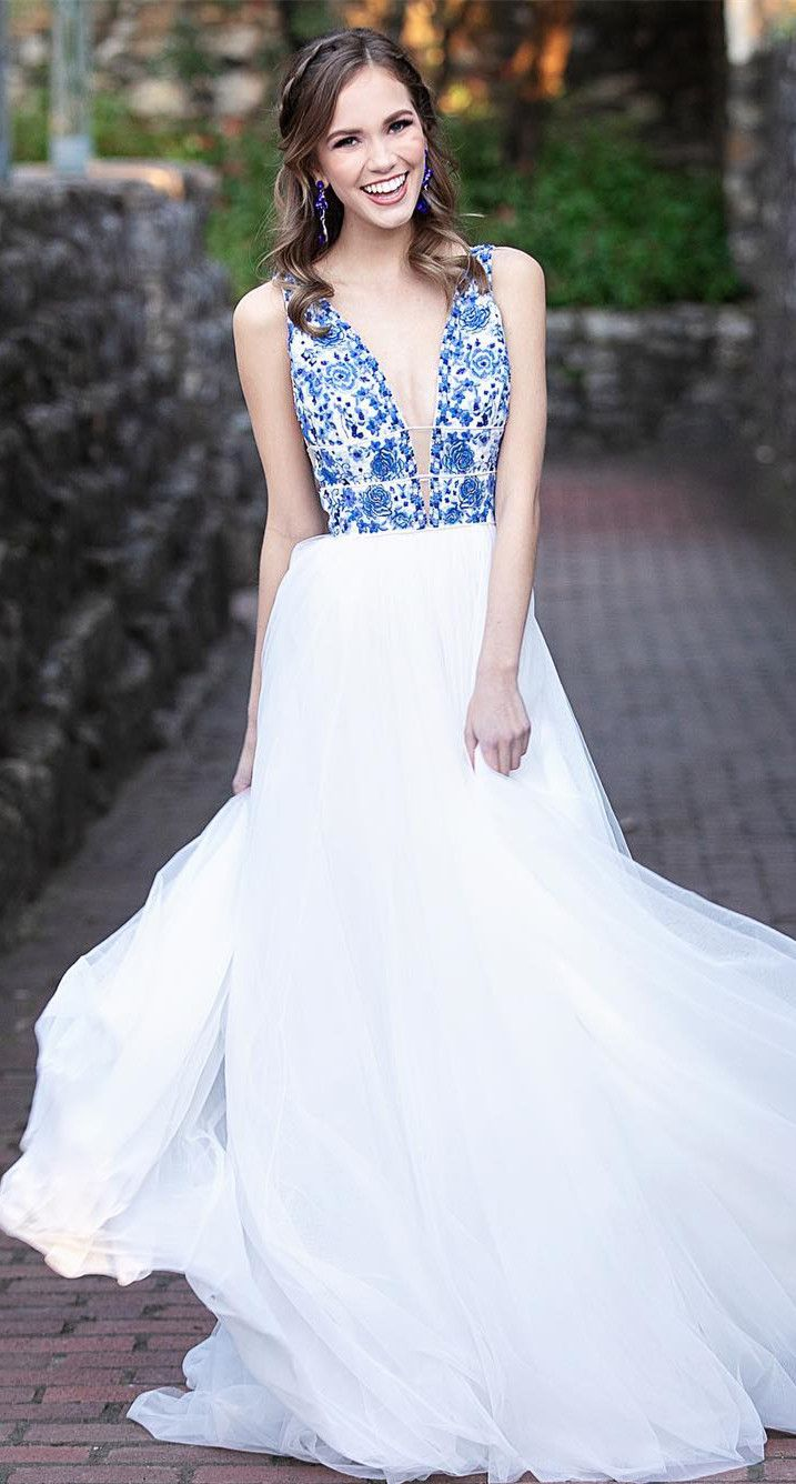 74a0226bfc Halter Blue and White Embroidery Floor Length Prom Dress in 2019 ...