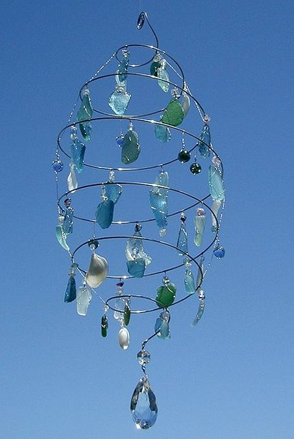 beach glass, wire and crystal wind chime