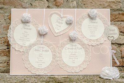 tableau de mariage idee giarrettiera pizzo | Tableau ROMANTICO con pizzo e ortensie di carta