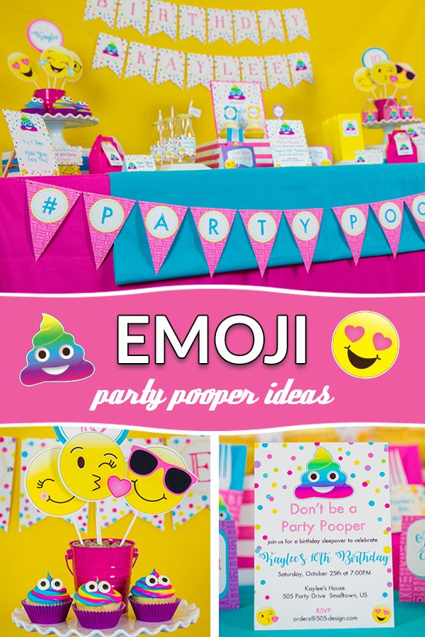 Printable Party Pooper Birthday Decorations And Matching Invitation Huge Full Collection Editable Edita
