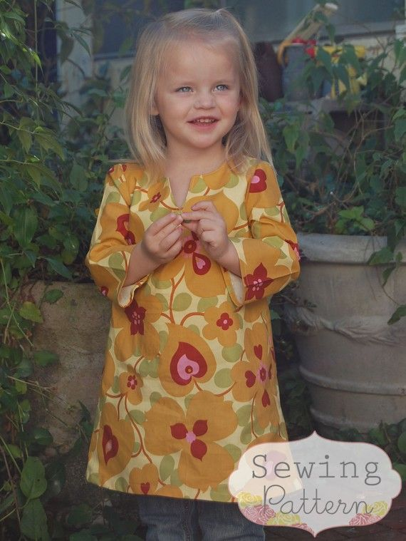 INSTANT DOWNLOAD- Sophia Tunic Dress (Sizes 12/18 months to 6) PDF Sewing Pattern and Tutorial  great with leggings etc