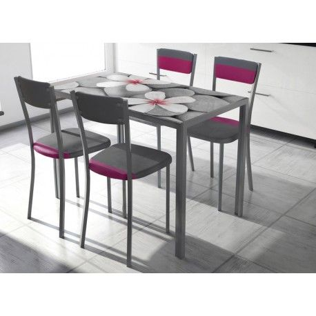 Conjunto de mesa y sillas de cocina estilo moderno. Una mesa de cocina modelo Cica Zen, con estructura con recubrimiento gris epoxi-poliester y encimera de cristal templado con fotoimpresion tonos gris y magenta. 4 Sillas con estructura con recubrimiento gris epoxi-poliester. y asiento tapizado en PU combinado de colores.      Medidas Mesa: 60 x 105 x 75 cm     Medidas Silla: 40 x 45 x 89 cm