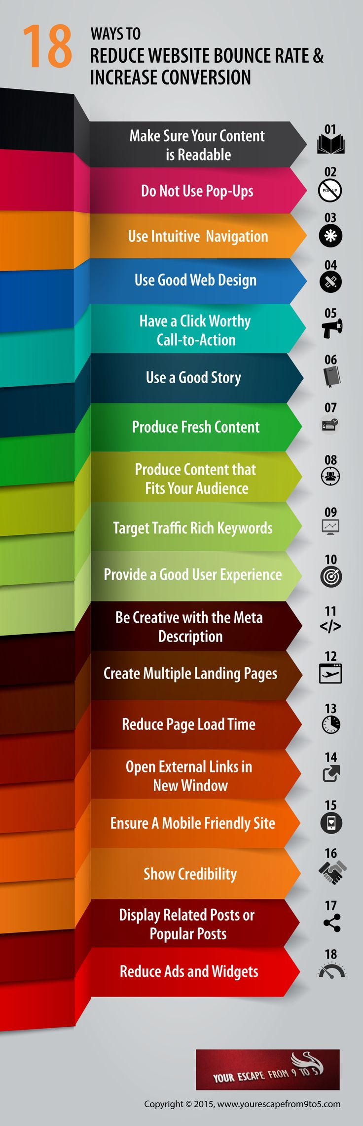 18 ways to reduce website bounce rate and increase conversion #Infographic