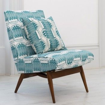 Vintage Parker Knoll Chair - Sardine fabric. Amazing fabric on this simple vintage chair, beautifully detailed.
