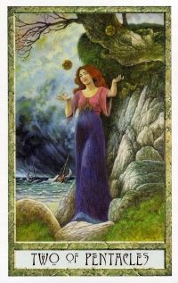 Druid Craft Tarot - Two of Pentacles