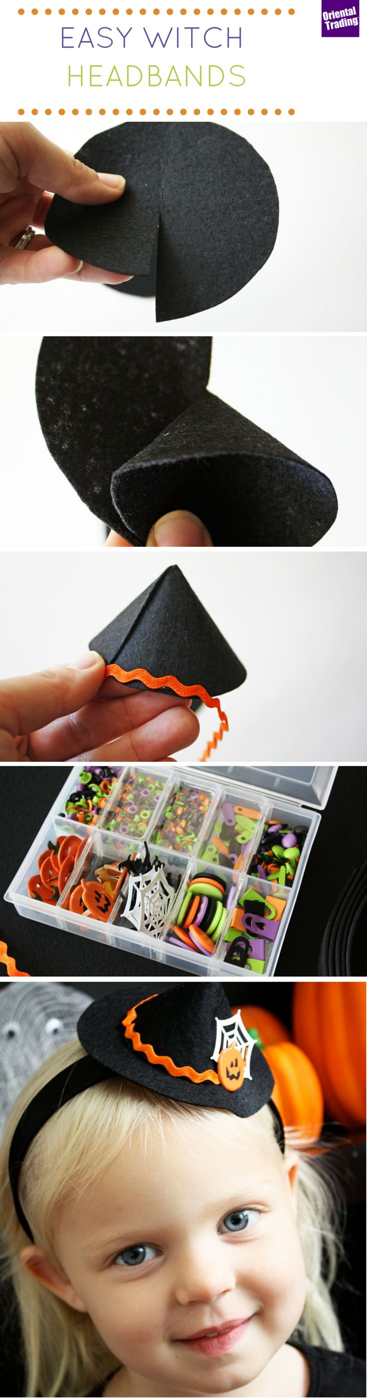 My daughters love making their own headbands! For Halloween we decided to make cute witch hat headbands. They are absolutely adorable and can be worn with any witch costume. All it takes is a little felt, some hot glue and cute Halloween embellishments.