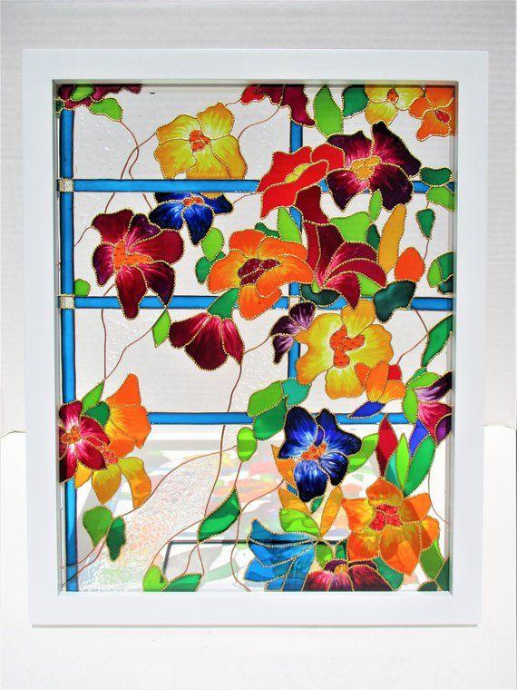 Mandala Art 13x13 Glass Painting Bohemian Decor Glass Art Suncatcher Stained Glass Wall Decor Win Glass Painting Glass Painting Patterns Glass Painting Designs