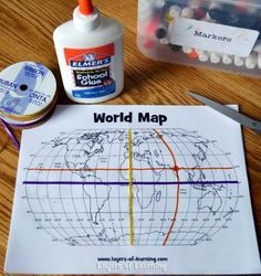 Fun world map activity - only do equator and prime meridian for PYP3 and discuss what these lines mean