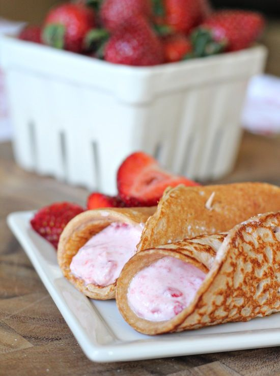 Strawberry Protein Pancake Roll-ups w/yogurt filling