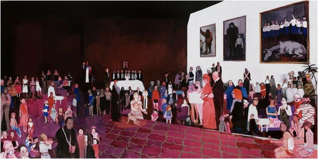 Helen Verhoeven, Event Two, acrylic on canvas, 208x418 cm 2008