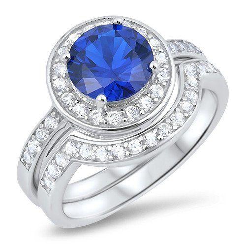 2.2CT Round Cut Blue Russian Lab Diamond Halo Bridal Set Wedding Band Ring