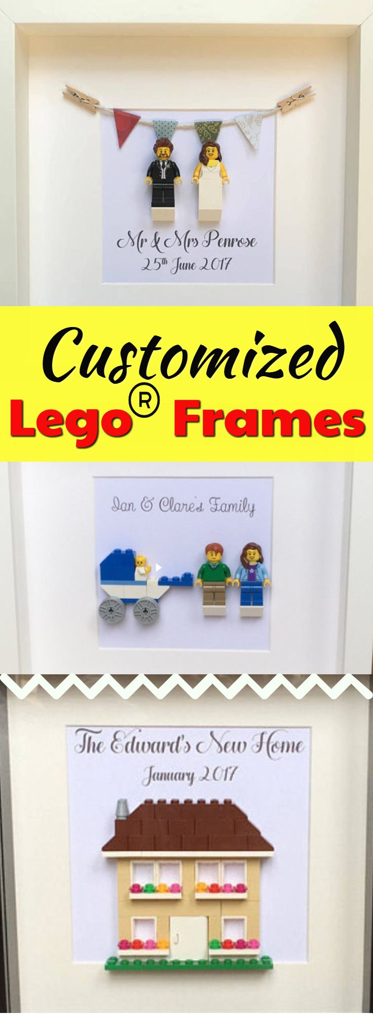 For the Lego enthusiast -  these are perfect. What a fun way to celebrate a special occasion. LEGO® Wedding Gift Personalised, Anniversary Gift Mr & Mrs LEGO® Minifigure Couple Frame, LEGO® Wedding Frame LEGO® PERSONALISED NEW HOME HOUSEWARMING GIFT, OUR FIRST HOME #lego #ad #legominifigures