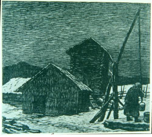 A woodcut print titled Kaivolla by Erkki Tanttu, b. 1907