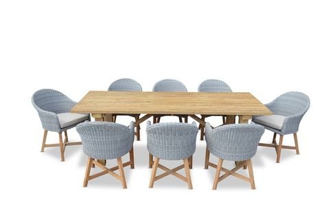 United House Furniture RUSTIC INDUSTRIAL OUTDOOR TEAK TABLE w/ 8 COASTAL DINING CHAIRS $2999