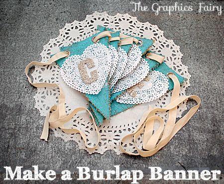 Make an easy Burlap Banner with David Tutera Casual Elegance Burlap Pennants!