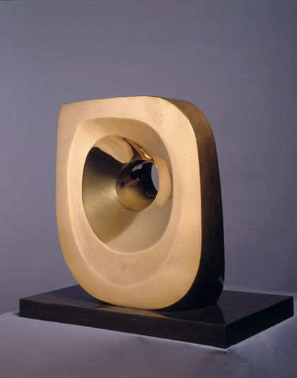 Artist Barbara Hepworth: Head (Ra), Polished bronze, 1972