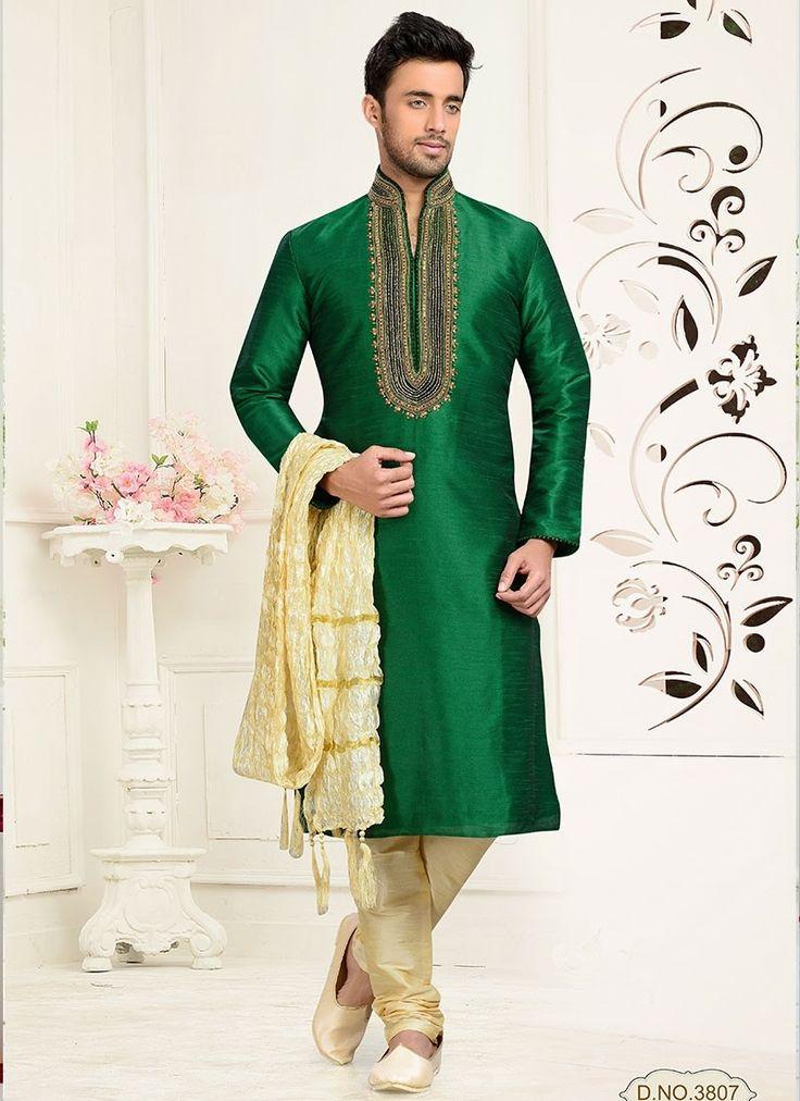 Shop Online Green Art Dupion Silk #MensSherwani @Chennaistore.com