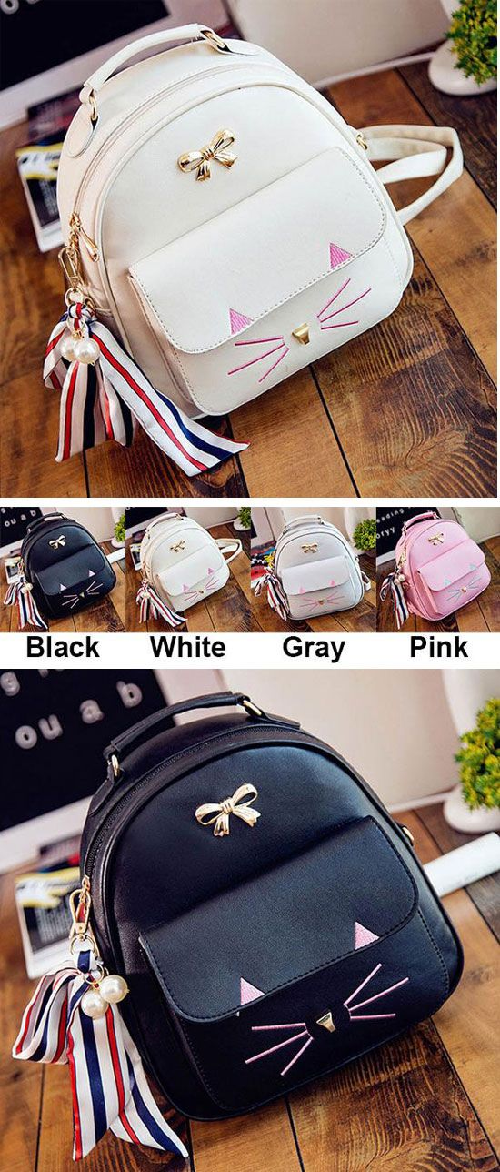 Cream or black? Cute Cat Embroidery Animal School Bag Cartoon Kitty Metal Bow College Backpack #backpack #school #cat #bow #cute #Kitty #bag