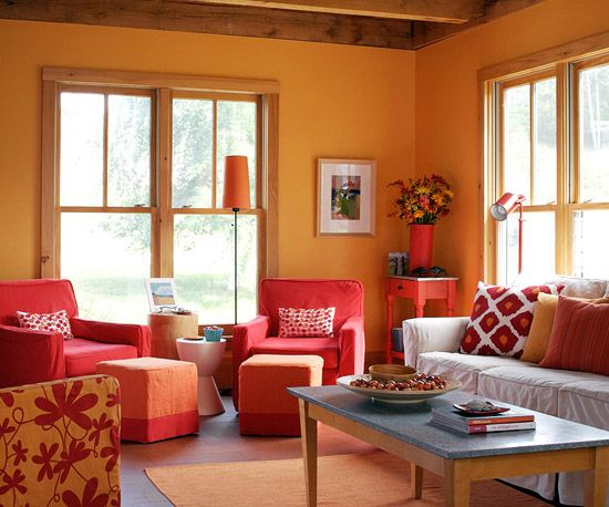 Add color to your living room orange living rooms home for Warm decorating ideas living rooms